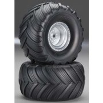 TRAXAS Monster Jam Replica Pre-Mounted Rear Tires (2) (Silver) (TRA3663)