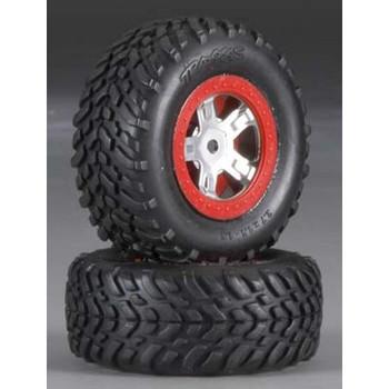 TRAXXAS SCT Pre-Mounted Tires & Wheels w/Red Beadlock (Satin Chrome) (2) (TRA7073A)