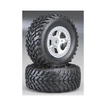 TRAXXAS Pre-Mounted SCT Off-Road Tire (Satin Chrome) (2) (TRA7073)