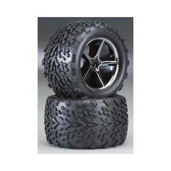 TRAXXAS Pre-Mounted Talon Tires w/Gemini Wheels (Black Chrome) (2) (TRA7174A)
