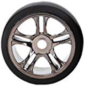 Traxxas Rear Tire & Wheel Set (2) (Black Chrome) (S1) (TRA6477)
