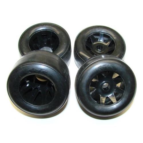 Calandra Racing Concepts Front & Rear Mounted RT1 Tires on Black GTR Wheels (4) PAN
