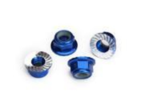 TRAXXAS 5mm flanged nylon locking (aluminum, blue-anodized, serrated) (4)