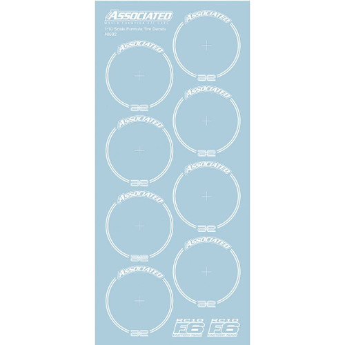 Team Associated RC10F6 Tire Decals, white (ASC8692)