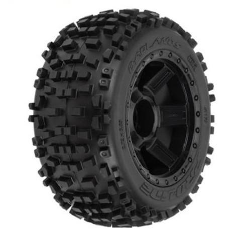 "Pro-Line Badlands 3.8"" Tire 1/2"" Offset Wheel (2) (Black) (M2) - w/Desperado 17mm MT Wheel"