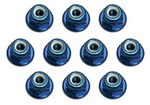 Team Associated Factory Team 3mm Aluminum Flanged Locknut (Blue) (10) (ASC25392)