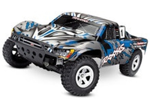 TRAXXAS Slash 1/10 RTR Electric two wheel drive RTR short course truck with included TQ 2.4GHz radio system. This is the Silver/Blue version