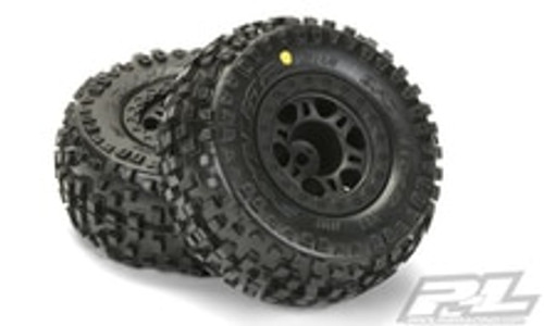 "Pro-Line Badlands SC 2.2""/3.0"" M2 (Medium) Tires Mounted on Black Front Wheels for Slash (PRO1182-21)"