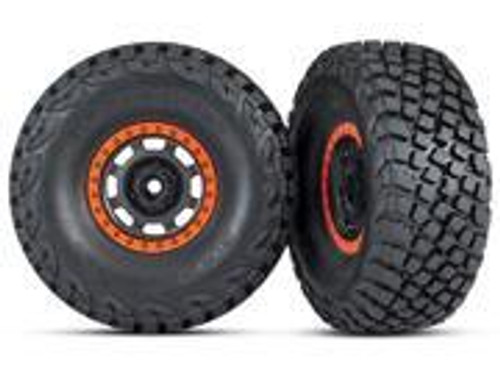 Traxxas Pre-Glued (Desert Racer wheels, black/orange beadlock, BFGoodrich® Baja KR3 tires) (2) (TRA8472)