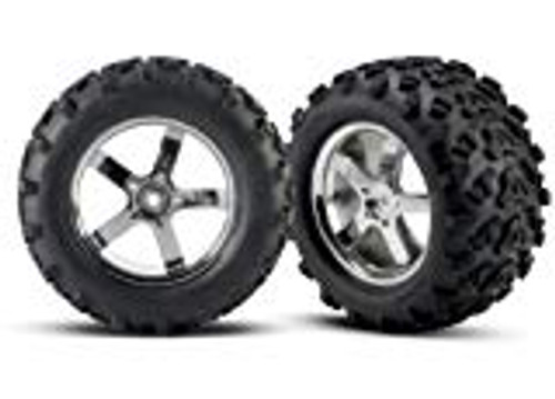 "Traxxas T-Maxx Pre-Mounted 3.8"" Tire w/Hurricane Wheels (2) (Chrome) (TRA4973R)"