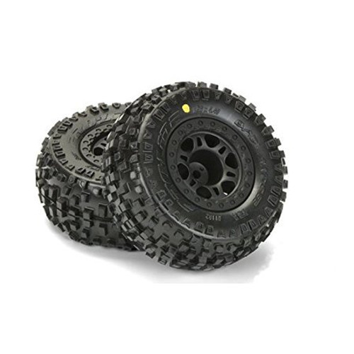 "Pro-Line Badlands SC 2.2""/3.0"" M2 (Medium) Tires Mounted for Slash 2wd Rear & Slash 4x4 Front or Rear, Mounted on Split Six Black Wheels"