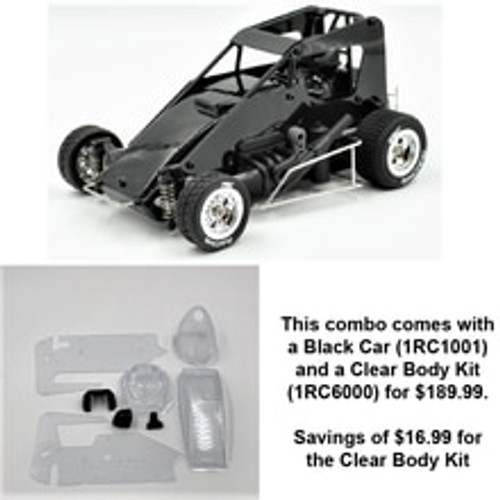 1RC Racing 1/18 Midget, Black, RTR (w/Clear Body)