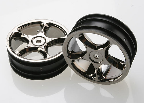 "Traxxas 2.2"" Bandit Front Tracer Buggy Wheels (2) (Black Chrome) (Pins) (TRA2473A)"