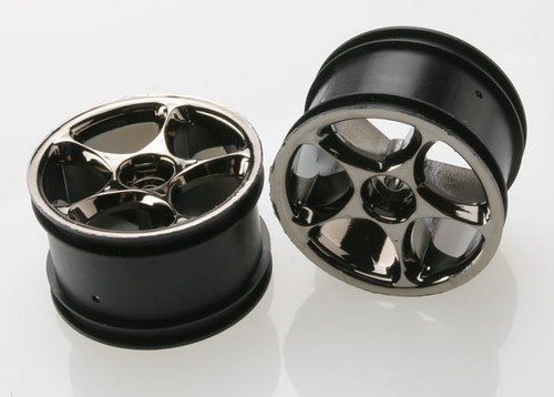 "Traxxas 2.2"" Bandit Rear Tracer Buggy Wheels (2) (Black Chrome) (Pins) (TRA2472A)"