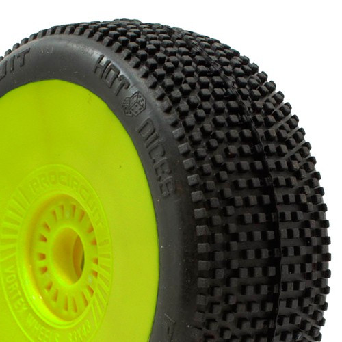ProCircuit Hot Dices Buggy Tires (P2) Soft - Pre-Mounted (Yellow) (2) (PCY1005-P2)