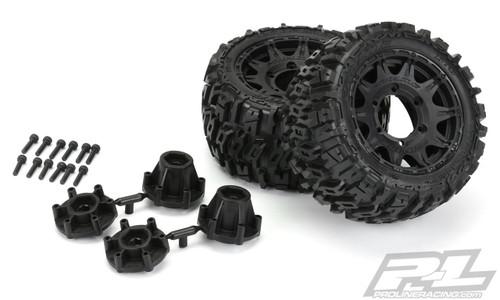 "PROLINE Trencher Low Profile 2.8"" Tires w/Raid Rear Wheels (2) (Black) (M2) w/12mm Removable Hex"