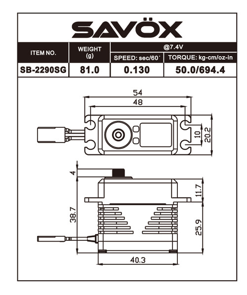 Savox SB-2290SG Black Edition Monster Torque Brushless Steel Gear Servo
