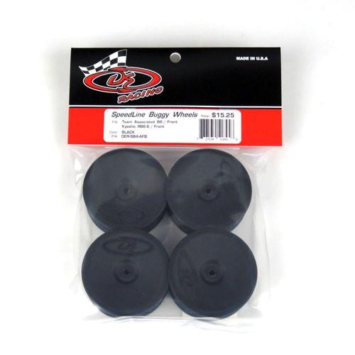 """DE Racing 12mm Hex """"Speedline"""" 2.2 1/10 Buggy Front Wheels (4) (B6/RB6) (Black)"""