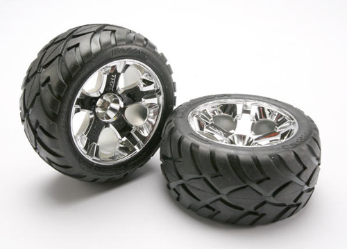 Traxxas Anaconda Tires w/All-Star Rear Wheels (2) (Jato) (Chrome) (Standard)