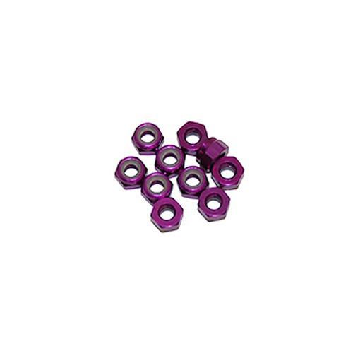 Ultimate Racing 3mm Aluminum Nylock Nut (Purple) (10pcs) (UR1502-P)