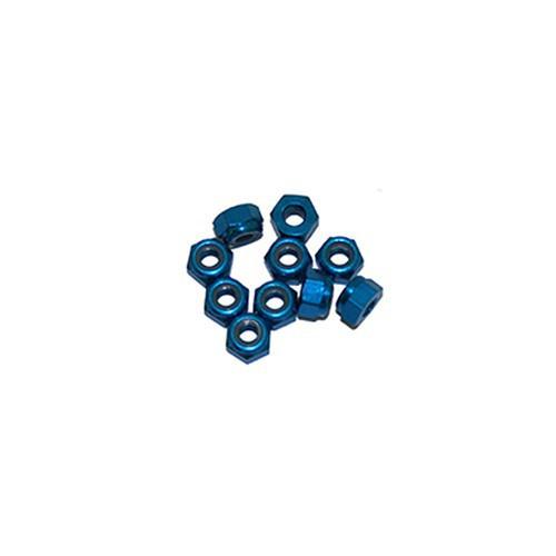 Ultimate Racing 3mm Aluminum Nylock Nut (Blue) (10pcs) (UR1502-B)