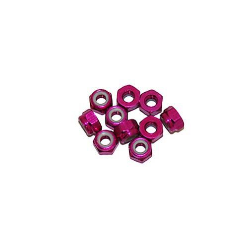 Ultimate Racing 3mm Aluminum Nylock Nut (Pink) (10pcs) (UR1502-PK)