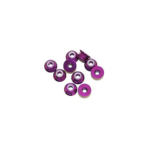 Ultimate Racing 3mm Aluminum Nylock Nut With Flange (Purple) (10pcs) (UR1503-P)