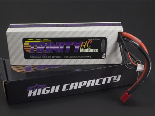 Trinity High Current Mudboss Battery Pack, 2S 7.4v 5200mah 50C, w/ T-Plug (Deans Type)