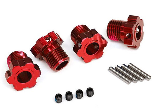 Traxxas Wheel hubs, splined, 17mm (red-anodized) (TRA8654R)