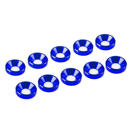 Ultimate Racing 4mm Aluminum Countersunk Washers (10) (Blue)