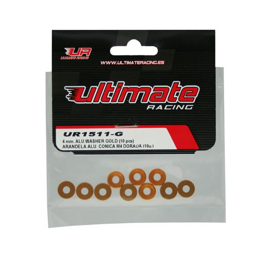 Ultimate Racing 4mm Aluminum Countersunk Washers (10) (Gold)
