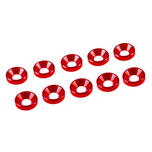 Ultimate Racing 3mm Aluminum Countersunk Washers (10) (Red)