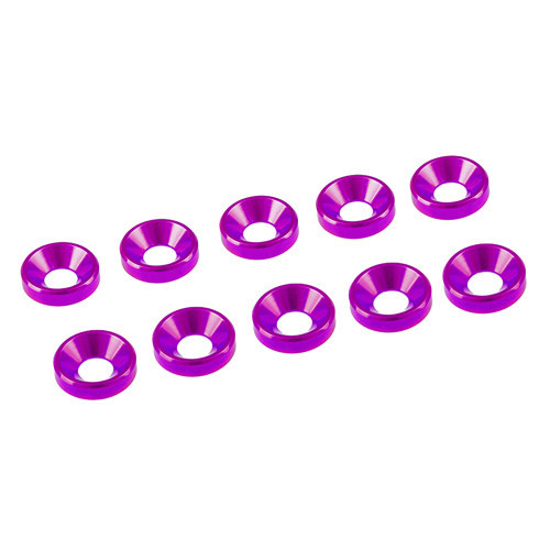 Ultimate Racing 3mm Aluminum Countersunk Washers (10) (Pink)