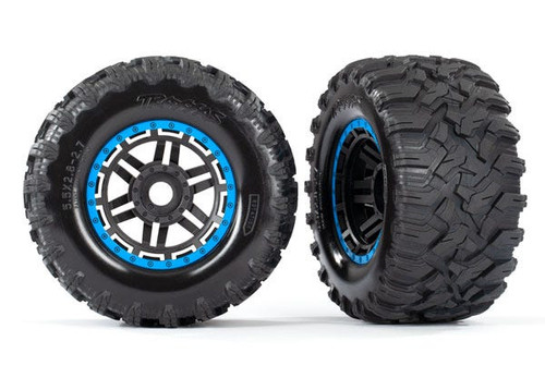 "Traxxas Maxx 2.8"" All-Terrain Pre-Mounted Tires On Beadlocks (2) (Blue) (TRA8972A)"