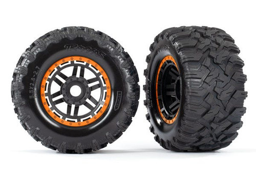 "Traxxas Maxx 2.8"" All-Terrain Pre-Mounted Tires On Beadlocks (2) (Orange) (TRA8972T)"
