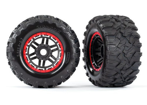 "Traxxas Maxx 2.8"" All-Terrain Pre-Mounted Tires On Beadlocks (2) (Red) (TRA8972R)"