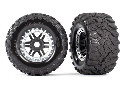 "Traxxas Maxx 2.8"" All-Terrain Pre-Mounted Tires On Beadlocks (2) (Chrome) (TRA8972X)"