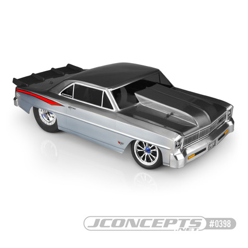 JConcepts 1966 Chevy II Nova V2 Street Eliminator Drag Racing Body (Clear) (JCO0398)