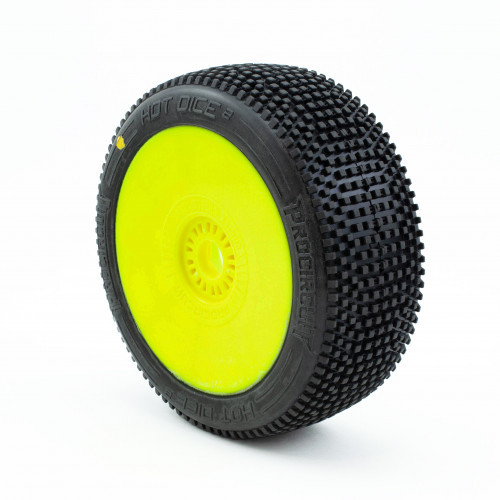 ProCircuit Hot Dice V2 Buggy Tires (C2) Soft - Pre-Mounted (Yellow) (2)