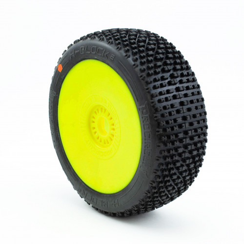 ProCircuit H-Block V2 Buggy Tires (C3) Medium - Pre-Mounted (Yellow) (2)