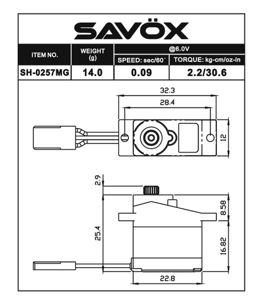 "Savox SH-0257MG Digital Metal Gear ""High Speed"" Micro Servo"