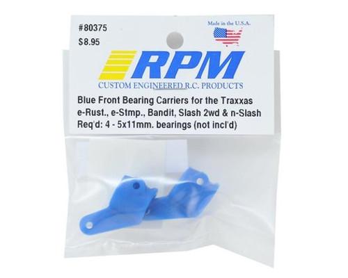 RPM Front Bearing Carrier Set (Blue) (2) (Slash, Bandit, Rustler, Stampede)