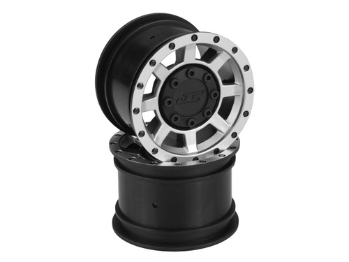 JConcepts Vengeance 2.2 Rock Crawler Wheels (4) (Black/Chrome) w/Caps & Adapters (JCO3374B)