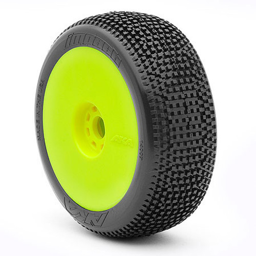 AKA Impact 1/8 Buggy Pre-Mounted Tires (2) (Yellow) (Soft - Long Wear) (AKA14007XRY)
