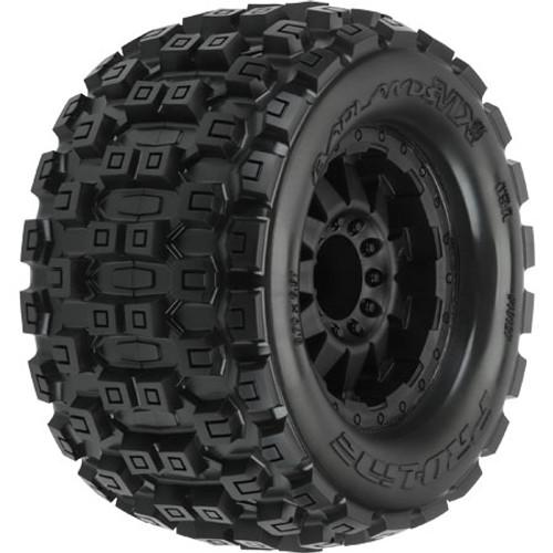 "Pro-Line Badlands 3.8"" Tire w/F-11 17mm 1/2"" Offset MT Wheel (2) (Black) (M2) (PRO10127-13)"
