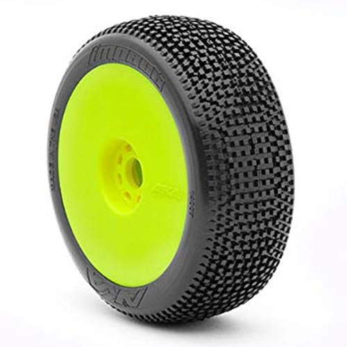 AKA Racing Impact 1/8 Buggy Tires (Medium) (Pre-Mounted) (Yellow) (2)