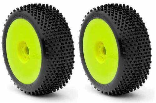 AKA Racing Cross Brace 1/8 Buggy Tires (Medium) (Pre-Mounted) (Yellow) (2)