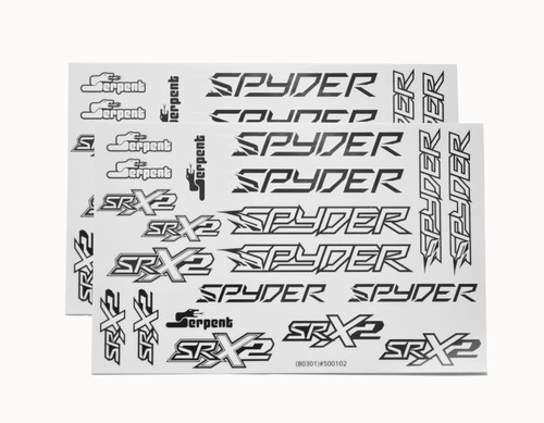 SERPENT Spyder Decal Sheet (Black/White) (2) (SER500102)