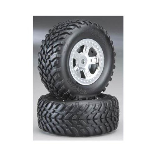 TRAXXAS Pre-Mounted SCT Off-Road Tire (Satin Chrome) (2)