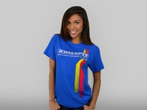 JConcepts Red | Yellow Racing Stripes T-Shirt (Blue) (Medium) (JCI2576M)